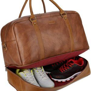NWT SSA Leather Large Travel Duffel, Brown
